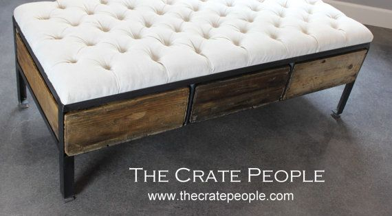 Reclaimed Tufted Ottoman Or 3 Crate Drawer Coffee Table Vintage Wood Crates Custom Furniture