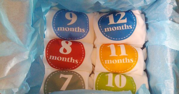 baby gift idea...onsies with months 1-12...cute for picture taking!