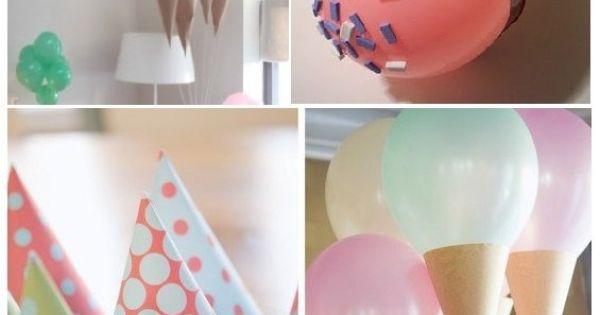 les ballons en forme de cornet de glace a fabriqu. Black Bedroom Furniture Sets. Home Design Ideas