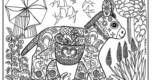 free coloring page coloring adult ane patterns drawing of a donkey with patterns full of. Black Bedroom Furniture Sets. Home Design Ideas