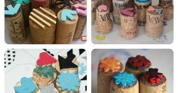 Sellos hechos con tapones de corcho y goma eva aprender - Manualidades con tapones de plastico ...