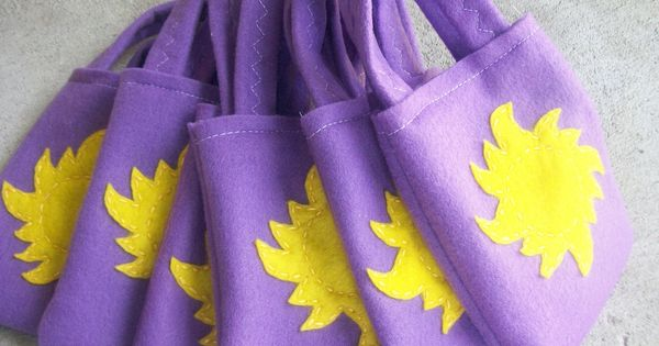 Rapunzel Party bags via Etsy. Could also use purple paper bags and