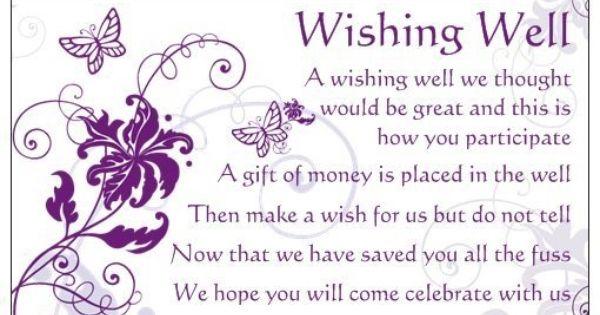 Wedding Invitation Wishing Well Wording: Wishing Well Poems On Pinterest
