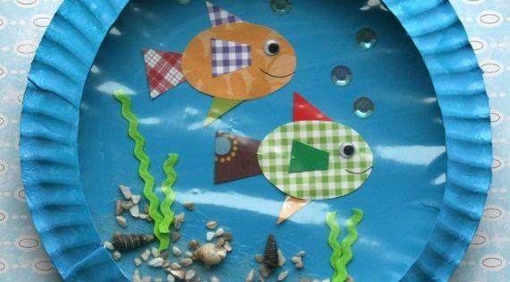 kid craft - paper plate aquarium