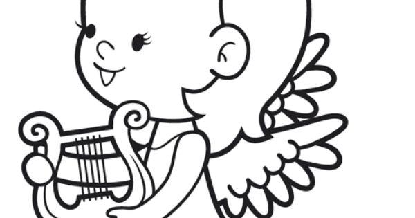 ausmalbild engel kostenlose malvorlage engel mit harfe