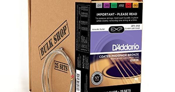 Daddario Exp26b25 Coated Phosphor Bronze Custom Light Gauge Strings Set 011052 Pack Of 25 Check Out Th Acoustic Guitar Strings Guitar Strings Acoustic Guitar
