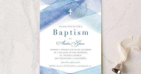 Watercolor Stripes Baptism And Christening Invitations By