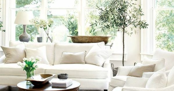 White Living Room with beautiful windows ... and Lovely Chandelier FROM: Favorite