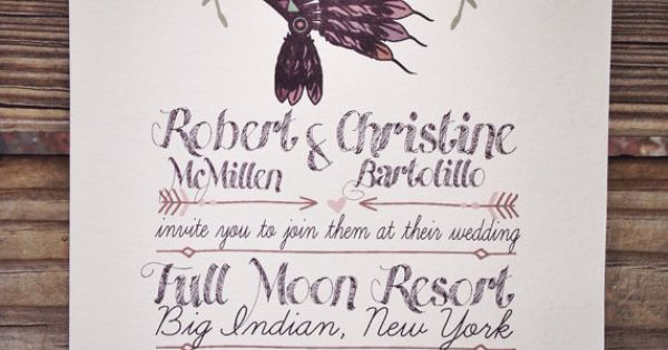 Native American Wedding Invitations: Native American Headdress Wedding Invitation By