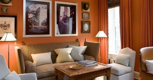 Rustic orange paint color classic interior with a burnt - Burnt orange paint for living room ...