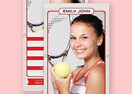 Instantly Download Free Tennis Trading Card Template Sample Example In Microsoft Word Doc Adobe Photoshop Psd Trading Card Template Cards Card Templates