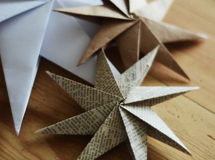 DIY Paper Star Christmas Ornaments