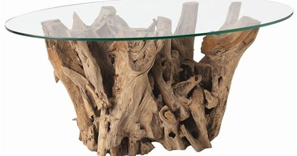 Driftwood table base for a beach cottage