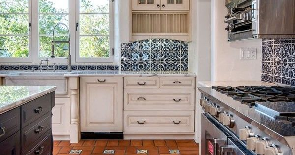 White Tile Backsplash With Spanish Deco Google Search