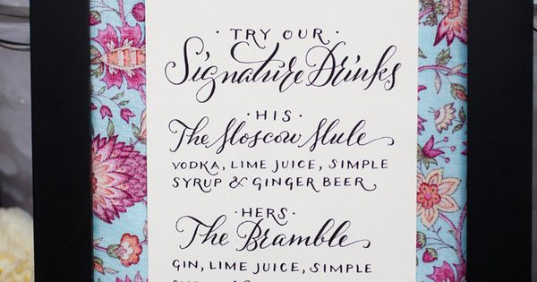 Wedding signature drinks menu with calligraphy and patterned border in frame... maybe