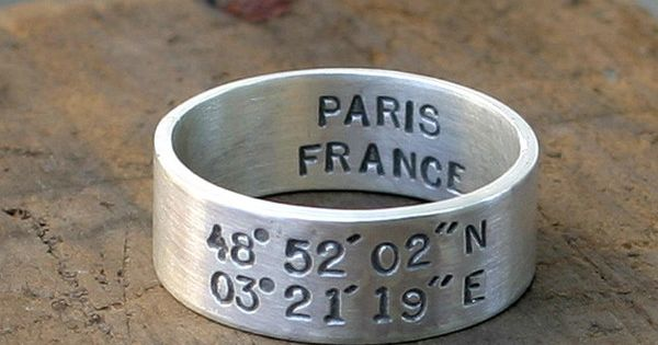 Sterling Silver Latitude Longitude Ring from Monkeys Always Look. Stamped with the