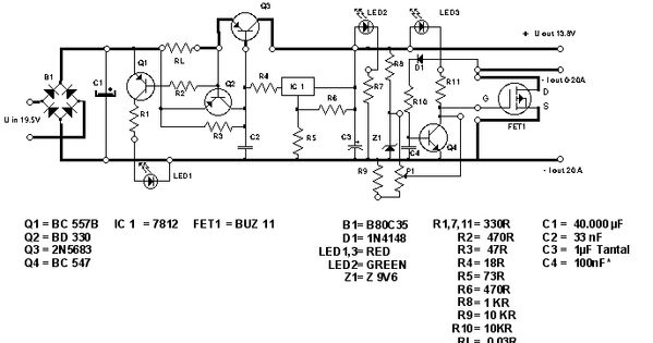 simple 13 8v and 20a dc power supply circuit diagram