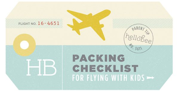 Packing Checklist for Flying With Kids with customizable spreadsheet | Hellobee