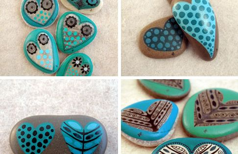 #art rock paint heart DIY craft cute polka dot stripes