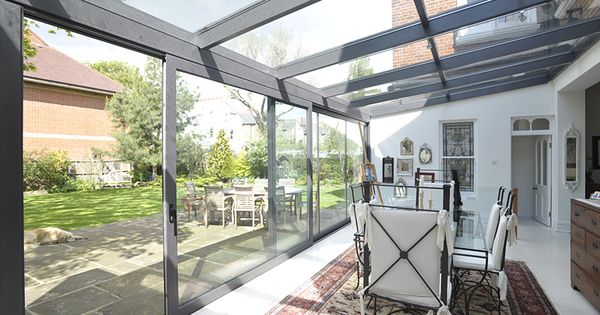 Glass extension with large sliding doors products used for Sliding glass doors extension