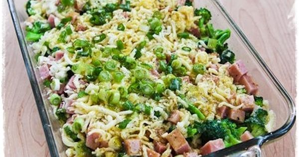 Broccoli, Ham, and Mozzarella Baked with Eggs..4-6 cups very small broccoli flowerets,