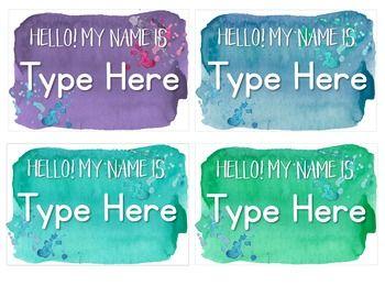 Calm Cool Watercolor Name Tags Editable Name Tags Names Calm