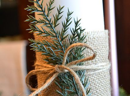 Holiday candle decor idea~ wrap a swatch of burlap around a candle