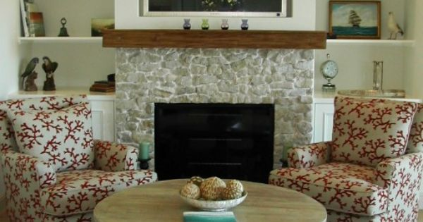 Fireplace half stone half wall fireplace makeover for Fireplace half stone