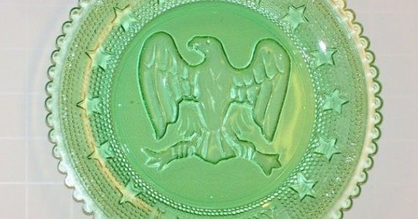 Imperial Green Glass Coaster Plate Embossed American Eagle ...