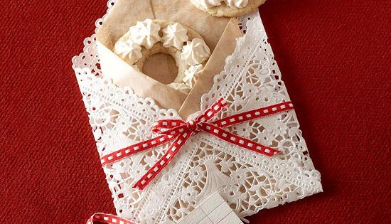 Festive Doily Envelope~ Gift wrap for small cookies or cards-(Recipe for Nut