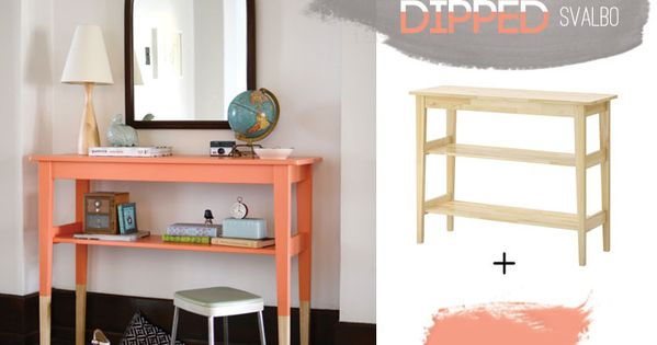 DIY ikea stand with dipped paint.. could do this with some of