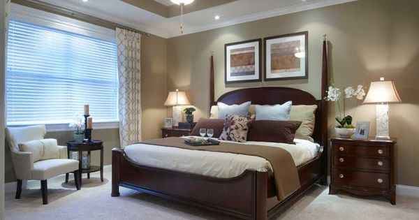 Great Master Bedroom Wall Color With White Molding 4 Post Bed Reading Area Bedding