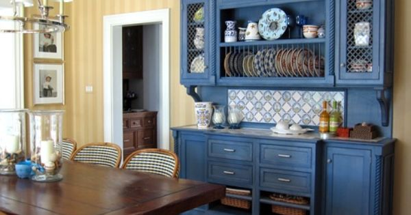 Blue and yellow kitchen love the color of this hutch for Yellow and blue kitchen ideas
