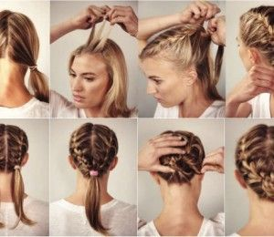 Keep Race Day Hair In Place With A Headband Braid Women S Running Race Day Hair Double French Braids Running Hairstyles