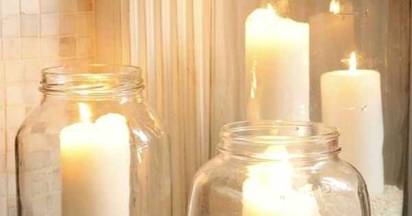 Sand Candles in MasonJars - simple and pretty for master - Click