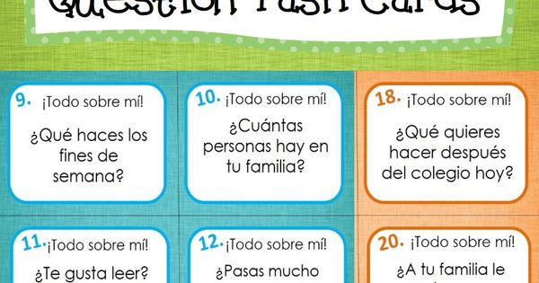 All About Me/Get to Know Your Classmates Spanish Question Cards. Use as