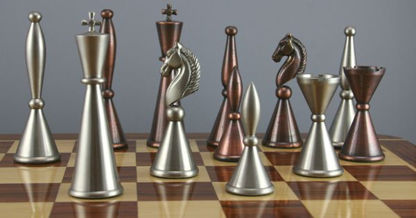 Art deco copper steel finish chess set from fringe brave - Chess nice image ...