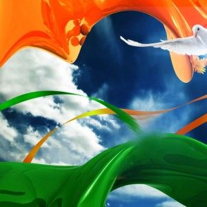 Orange White Green Flag With Dove Independence Day Wallpaper