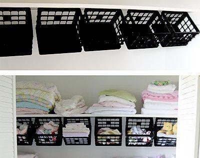 25 DIY Organizing Ideas: Like some dollar store plastic mini-crates, some hooks