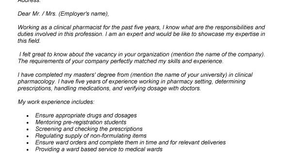 Pharmacy Cover Letter Example Adsbygoogle Window