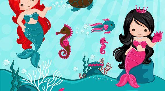Mermaid Clipart & Under sea graphics, little mermaid ...