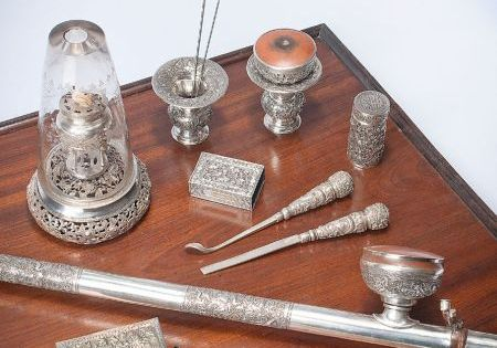 Silver opium set china pipe lamp box and for Pipe a fumer cuisine