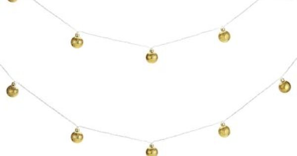 Gold Glass String Lights! Little ornaments that light up with battery poer. Use for the season ...