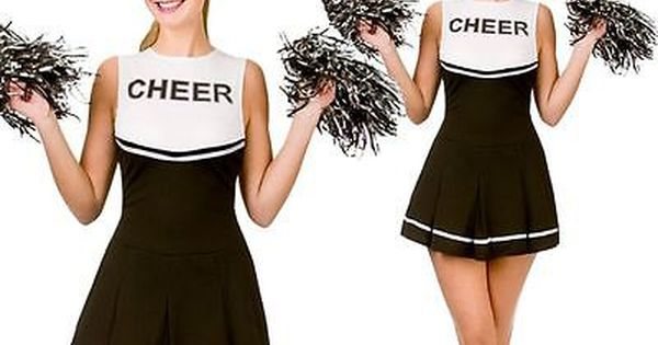 LADIES BLACK HIGH SCHOOL CHEERLEADER ADULTS FANCY DRESS COSTUME WITH POM POMS