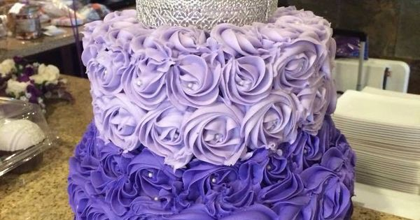 Purple Ombre Rosette Cake With Silver Lace Crown The