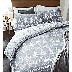 Catherine Lansfield Nordic Trees Christmas Duvet Cover Set Grey Christmas Duvet Cover Quilted Duvet Cover Kids Christmas Bedding