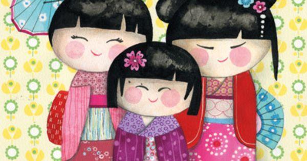 tableau les poup es japonaises lilipinso and co illustrations pinterest poup e japonaise. Black Bedroom Furniture Sets. Home Design Ideas