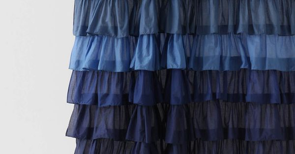 Ruffled Ocean Blue Shower Curtain.
