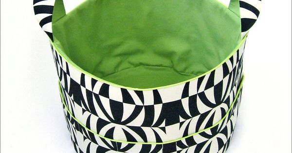 Jumbo Fabric Basket (round basket with handles) tutorial - Sew4Home