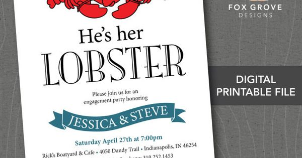 Engagement Party Invitation Hes Her Lobster / Friends / Customizable Printable Digital